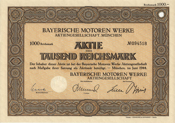 Aandeel (Aktie) 1000 RM Bayerische Motoren Werke A.G. München uit 1944.