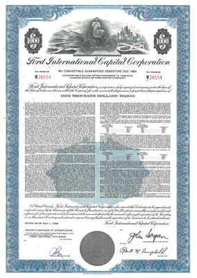 Obligatie $1.000 Ford International Capital Corporation uit 1968.