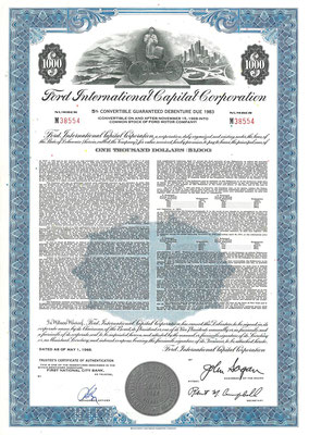 Obligatie $1.000 Ford International Capital Corporation uit 1968.