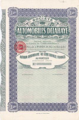 Gewoon aandeel Société des Automobiles Delahaye S.A. met het oude logo. (blanket)
