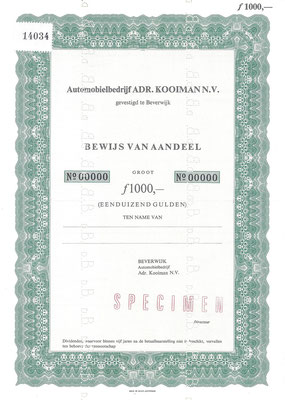 Een aandeel Automobielbedrijf ADR. KOOIMAN N.V. (specimen).