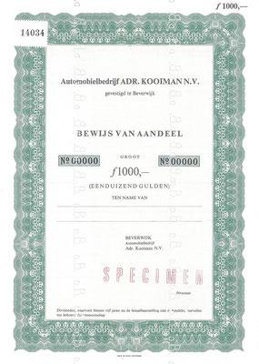 Aandeel Automobielbedrijf ADR. KOOIMAN N.V. (specimen).