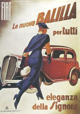 Een affiche uit 1934/1935 van M. Dudovich voor de Fiat Balilla. Het Vaticaan protesteerde tegen de lengte van de rok in de eerste versie die toen werd vervangen door dit ontwerp.
