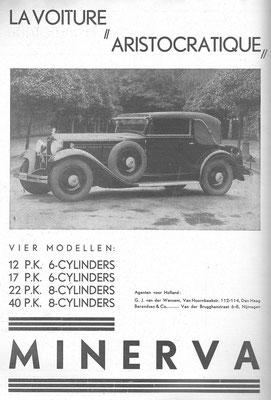 Een Nederlandse advertentie voor Minerva uit 1932.