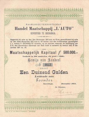 """Aandeel Handel Maatschappij """"L'AUTO"""" uit 1911."""