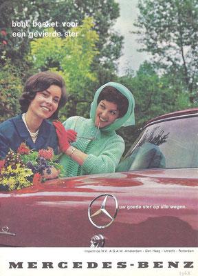 Nederlandse advertentie voor Mercedes-Benz uit 1963.