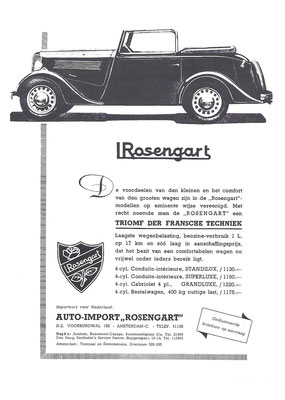 Een Nederlandse advertentie voor Rosengart uit 1935.