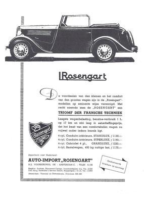 Nederlandse advertentie voor Rosengart uit 1935.
