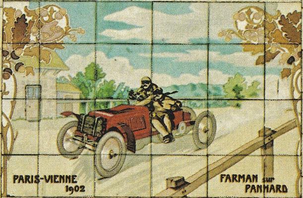 Farman met Panhard tijdens de wedstrijd Parijs-Wenen in 1902.