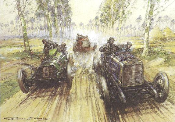 Théry met een Brasier, Bianchi met een Wolsely en op de achtergrond Nazarro met een Fiat strijden om de Gordon Bennett Trophy. Een kunstwerk van Gordon Crosby.
