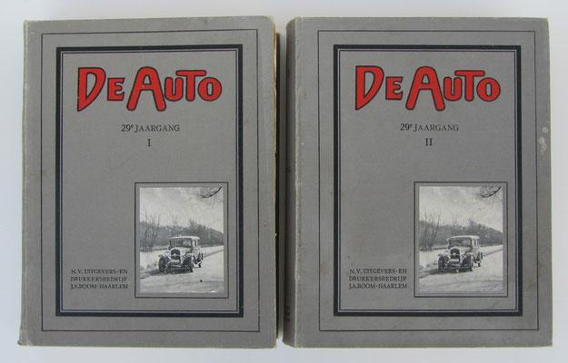 De Auto. Geïllustreerd weekblad voor automobilisten waarin opgenomen de officiëele mededeelingen van de Koninklijke Nederlandsche Automobiel Club. Dit is de in 2 delen gebonden 29 ste jaargang (1932), totaal 1842 pagina's.