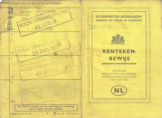 Een linnen kentekenbewijs van een DKW F91 uit 1954 (1).
