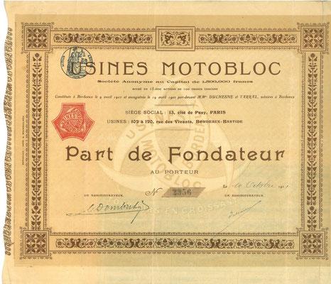 Een aandeel Usines Motobloc S.A. uit 1911.