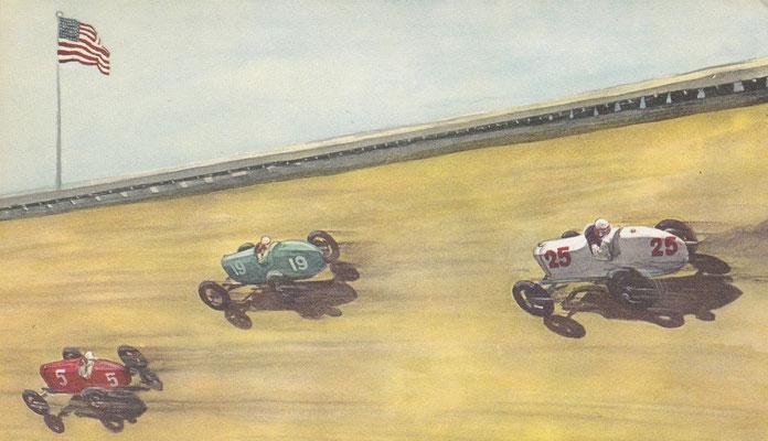 Een board-track (houten baan) in de USA in 1924.