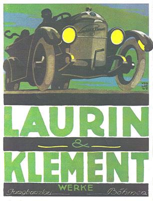 Advertentie van Laurin & Klement uit 1925, het jaar waarin de fabriek door Skoda werd overgenomen.