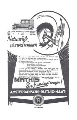 Nederlandse advertentie voor Mathis uit 1927.