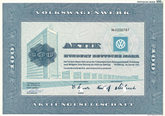 Aandeel (Aktie) DM 100 Volkswagenwerk A.G. Wolfsburg uit 1961.