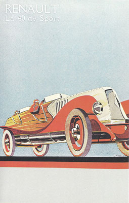 Reclame van Renault uit begin twintiger jaren met de 40 cv Sport.