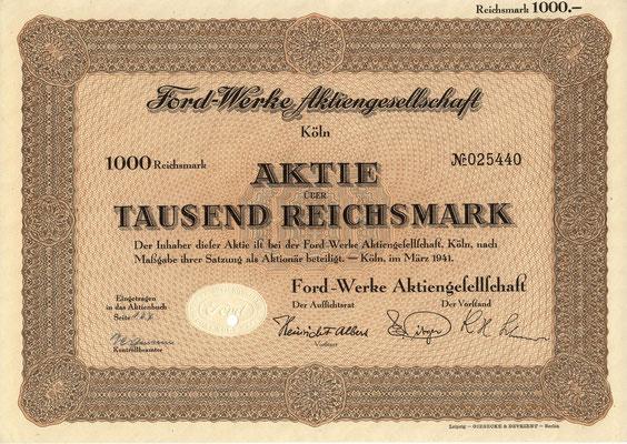 Aandeel Ford-Werke A.G. 1.000 RM uit 1941. Dit stuk (met een ander nummer) is te koop, prijs € 15,00 email: info@automobielhistorie.com
