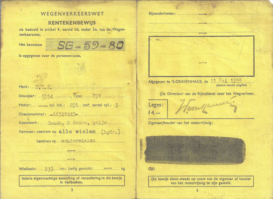 Een linnen kentekenbewijs van een DKW F91 uit 1954 (2).