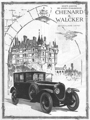 Een advertentie van Chenard & Walcker uit 1924.