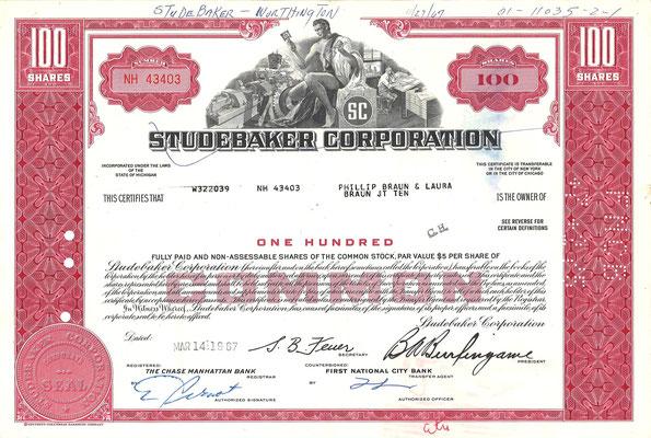 Certificaat voor 100 aandelen Studebaker Corporation uit 1967.
