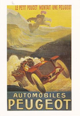 Affiche van Pierre Simmar van rond 1906. De reus met zijn zevenmijlslaarzen moet het afleggen tegen Kleinduimpje en zijn kornuiten in een Peugeot.