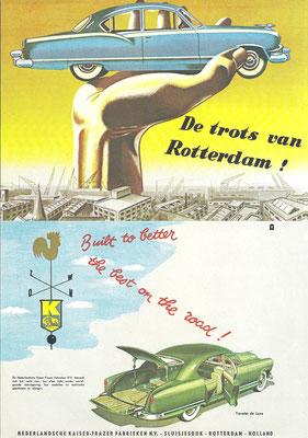 Een Nederlandse advertentie van Kaiser-Frazer.