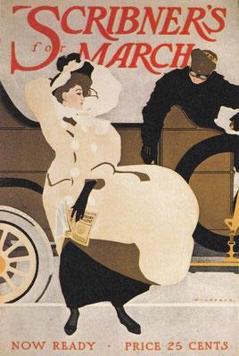 Deze illustratie van Robert J. Wildhack voor de cover van het modeblad Scribner's March uit 1907 geeft aan dat de auto al een chique status had in de VS.