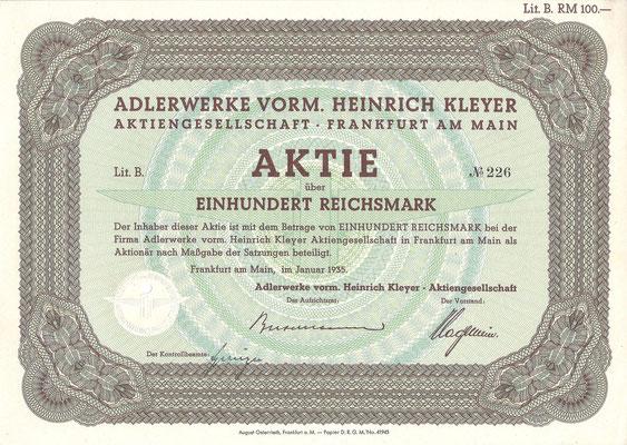 Aandeel (Aktie) 100 RM Adlerwerke Vorm. Heinrich Kleyer A.G. uit 1935.