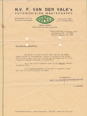 Brief Opel dealer uit 1936.