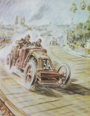 Ferenc Szisz met de 12,9 liter viercilinder Renault in de Franse Grand Prix van 1906. Om een weg rond St. Calais te creëren, zijn op dit gedeelte planken gelegd!