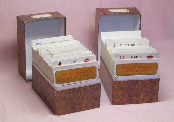 Verzamelkaarten Collectie Auto's in opbergboxen, uitgegeven in 1991.