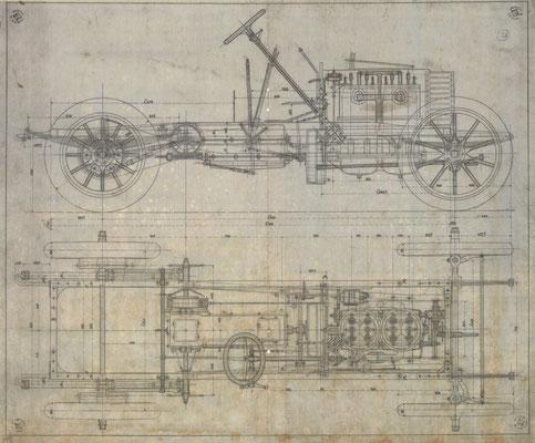Een ontwerptekening van Ettoire Bugatti voor De Dietrich.