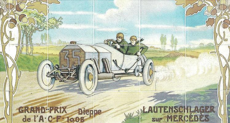 Lautenschlager met een Mercedes tijdens de Grand Prix in Dieppe in 1908.