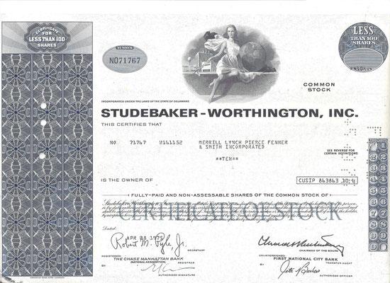 Certificaat voor 10 aandelen Studebaker-Worthington, Inc. uit 1975.