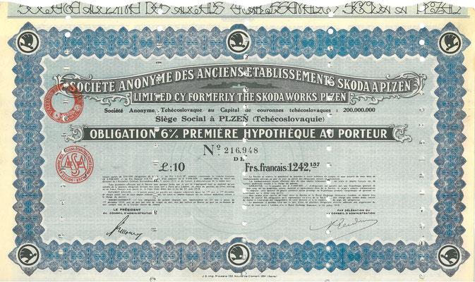 Obligatie 10 Pounds S.A. des Anciens Établissements Skoda a  Plzen uit 1930.