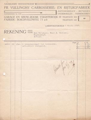 Rekening carrosserie- en rijtuigfabriek uit 1929.