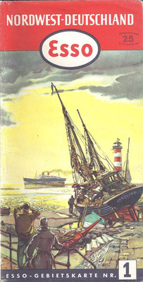 Esso Gebietskarte, Nr.1 Nordwest-Deutschland, 1952.