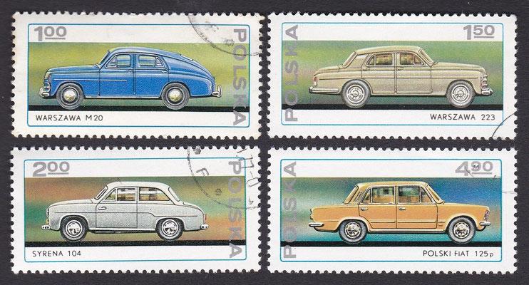 Postzegels Polen met Poolse auto's van 1951 tot 1976.