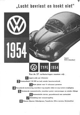 Nederlandse advertentie voor Volkswagen uit 1954.