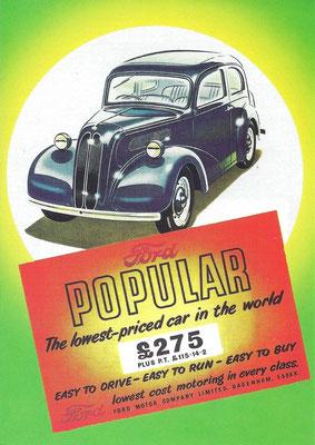 Engelse reclame uit 1953 voor de Ford Popular.