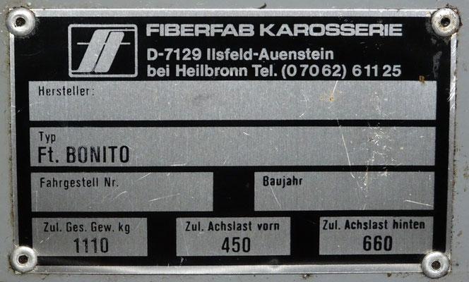 Typeplaatje van Fiberfab-Karosserie.