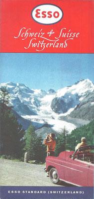 Kaart Esso Standard, Zwitserland, 1955.
