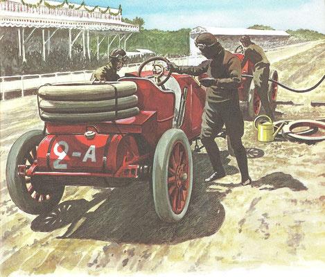 De eerste Grand Prix de l'Automobile Club de France in 1906 over een afstand van 1239 km, verdeeld over 2 dagen. Francois Szisz won met een Renault.
