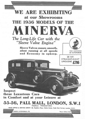 Een Engelse advertentie voor Minerva uit 1936.