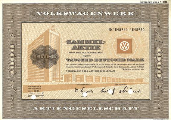 Aandeel DM 1.000 Volkswagenwerk A.G. uit 1961.