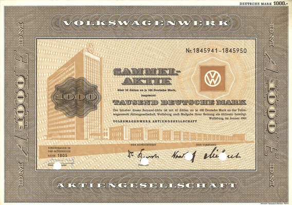 Aandelen (Aktien) DM 1.000 Volkswagenwerk A.G. Wolfsburg uit 1961.