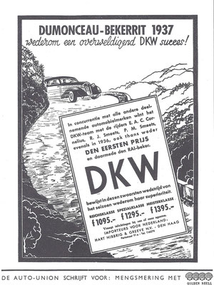 Een Nederlandse advertentie voor DKW uit 1937.
