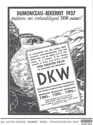 Nederlandse advertentie voor DKW uit 1937.